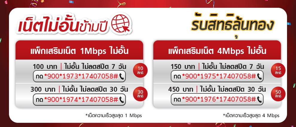 เน็ตไม่ลดความเร็ว 1 Mbps 4 Mbps